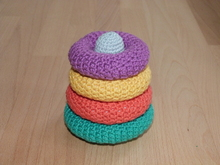 "Crochet pattern for a baby toy ""stacking tower"""