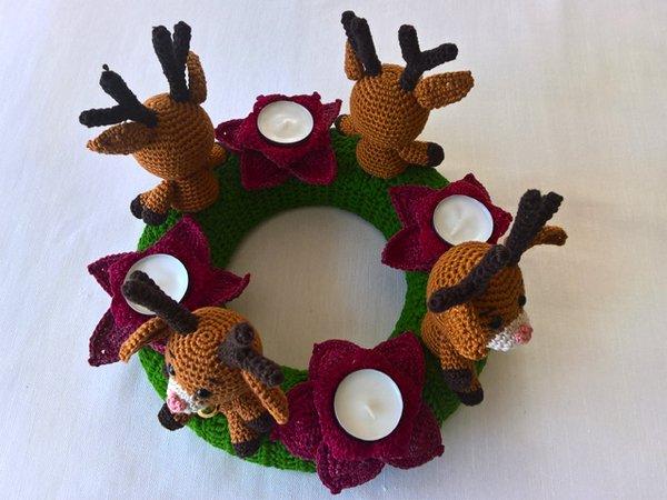 Crochet Pattern Christmas Wreath Reindeer