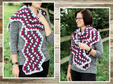 crochet pattern scarf with granny zig-zag