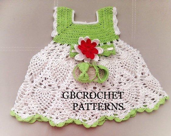 Full detailed baby dress crochet pattern