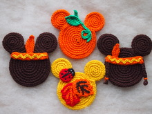 Autumn Ornaments: The Mickey Indian, The Minnie Indian, The Fall and The Pumpkin