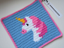 Unicorn Potholder Crochet Pattern - for beginners