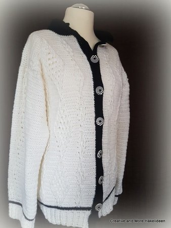 "Häkelanleitung Cardigan ""Black and White"" - Alle Größen -"