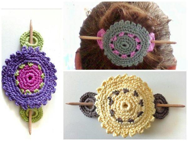 Häkelanleitung Haarschmuck Haarspange Hippie Boho