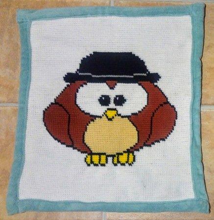 Decke für Neugeborene (Eule mit Hut)