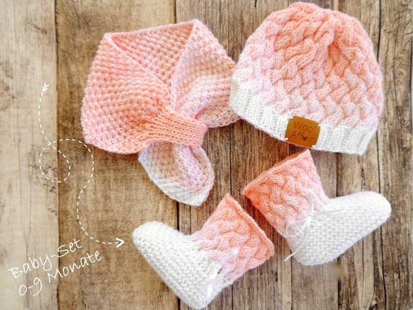 Strickanleitung Babymütze, Babyschuhe, Babyschal OMBRÉ No.163S