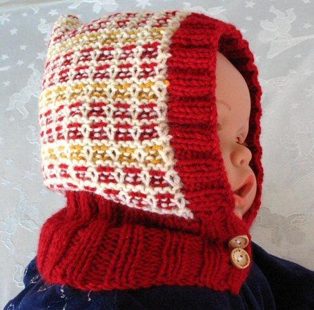Strickanleitung Mütze mit Schalkragen für Babys und Kinder Schlupfmütze