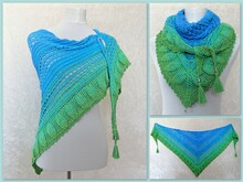 Crochet pattern shawl / wrap Blue Lagoon