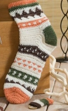 Socken Häkeln im Jacuqardmuster mit Minisocke