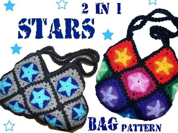 Häkelanleitung * Stars 2in1 * Sternentasche * 2 Taschen - 1 Muster *