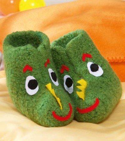DRACHE Hektor - Pantoffeln häkeln und Filzen