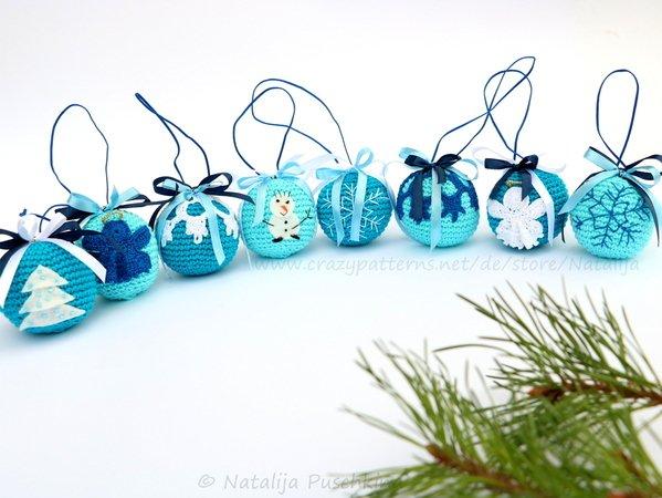 Häkeln für Weihnachten - Kugeln mit 5 verschiedenen Designs