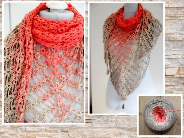 Crochet Pattern Triangular Shawl Desert Flower
