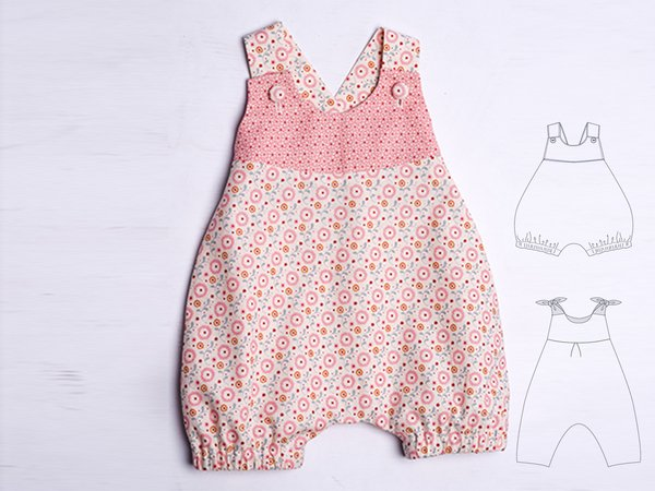 a7398d5b3fe34 LUNA Baby overall sewing pattern pdf for girls and boys dungaree with loops  and yoke. Easy lined jumpsuit winter + summer by Patternforkids