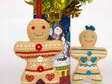 Amigurumi Pattern for Jacquard Gingerbread Man Christmas Ornament and Toy