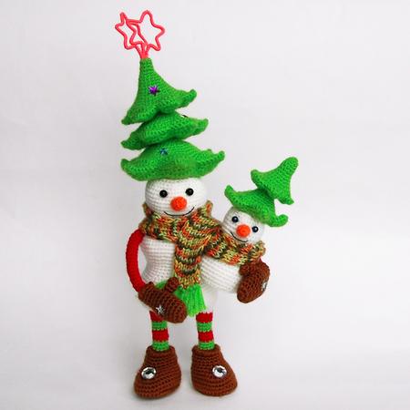Amigurumi Pattern For Crochet Snowman With Christmas Tree