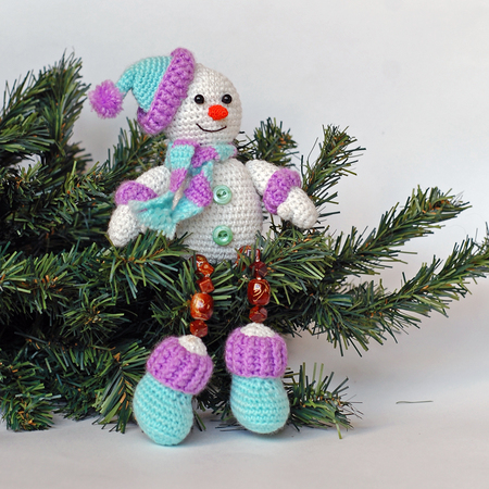 Amigurumi Pattern For Crochet Happy Snowman Crochet Toy With Beaded