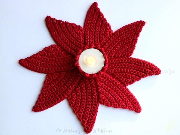 Teelichthalter häkeln /// Blumen-Motiv häkeln