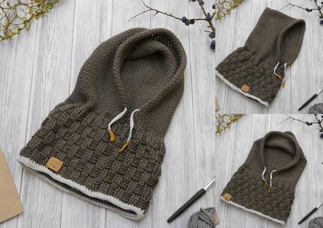 Crochet Pattern - Hooded Scarf SCOODY - No.184E
