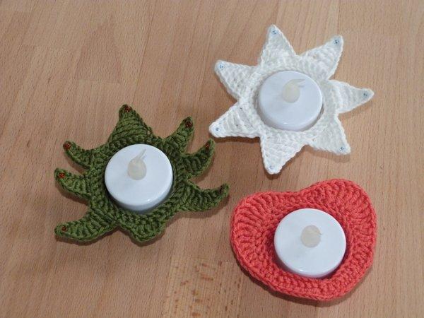 Häkelanleitung Für Weihnachtliche Teelichthalter Stern Herz Und