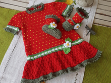 Strawberry Field Dress set for 3 to 18 months
