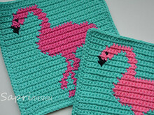 Flamingo Potholder Crochet Pattern - for beginners