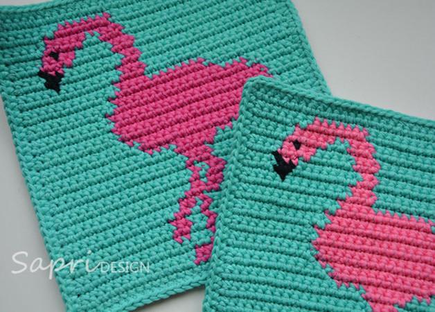 Flamingo Potholder Crochet Pattern - for beginners