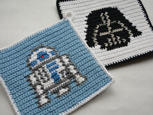 Crochet Pattern Set - R2D2 and Darth Vader Potholders - for beginners