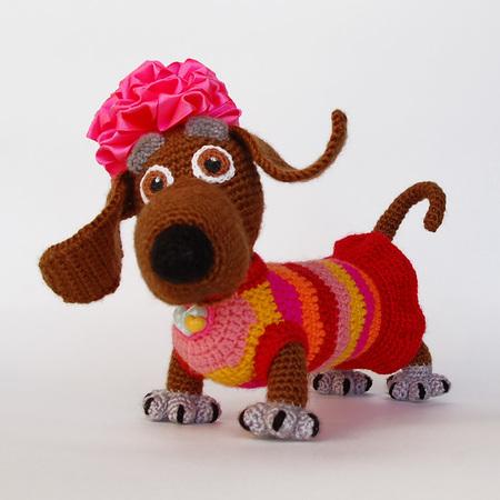 Amigurumi Dog Pattern For Lady Dachshund Crochet Colorful Tabby Dog
