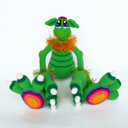 Amigurumi Pattern for Cute Monster Boy. Crochet Greenery Unusual Toy. Dino Christmas toy
