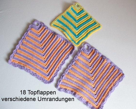 Topflappen - klassisches Muster, quadratisch, schöne Struktur mit 4 ...