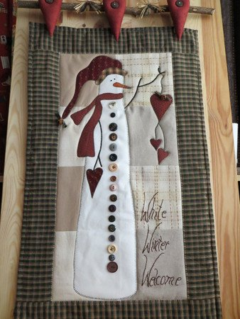 "Wandquilt ""White Winter Welcome"" ca.42 x 78 cm"
