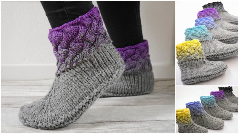 Knitting Pattern - Braiding Pattern Slippers Size 33-48 (US 4.5 - 15) - No.180E