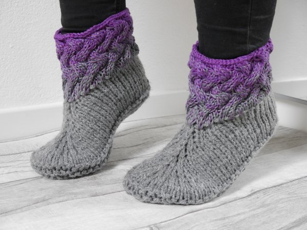 Knitting Pattern - Braiding Pattern Slippers Size 33-48 (US 2 - 14) - No.180E