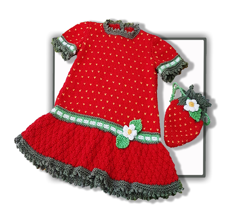 Strawberry Dress with Purse for 2 to 7 years