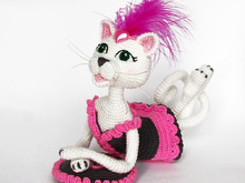 Amigurumi Pattern for Glamour Pussycat. Crochet Lady Kitten. Fashion Cat decoration.
