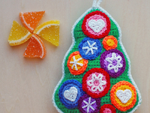 Crochet pattern for Candy Christmas tree. Christmas ornament and souvenir. Free pattern