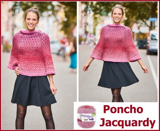 Poncho Jacquardy stricken aus CLOUD von Woolly Hugs