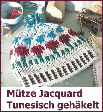 Mütze Jacquard Tunesisch Häkeln