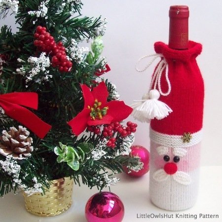 152 Knitting Pattern Santa Bottle Covers For Wine And Champagne