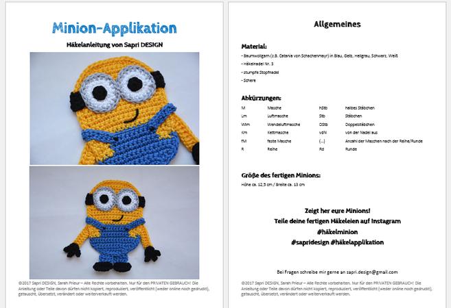 Minion Aufnäher / Applikation / Patch Häkelanleitung