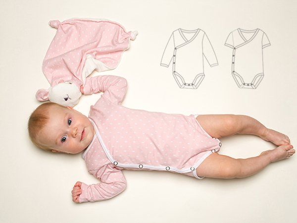 CIELO Cute wrapped bodysuit pattern for babies, easy to put on, winding body, onesie, easy pattern from Patternforkids Ebook PDF