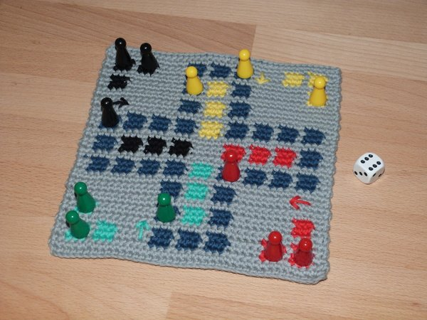 "Crochet pattern for a popular board game ""Ludo"""