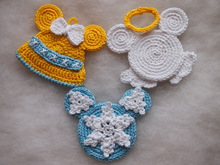 Christmas Bell, Angel and Snowflake Mickey