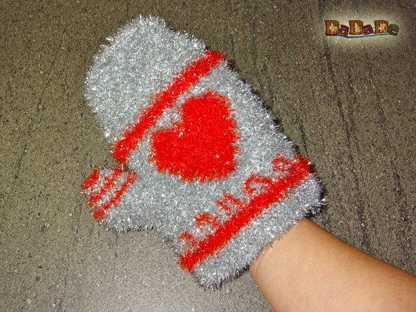 Dusch Und Peeling Handschuh Herz Gehäkelt Von Dadade