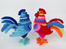 Amigurumi Pattern for Rooster Gordey. Crochet bird tutorial. Gzhel style.