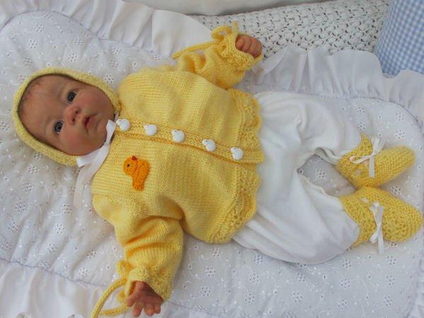 Strickanleitung Babygarnitur Entchen Gr 56 Für Baby Und Reborn