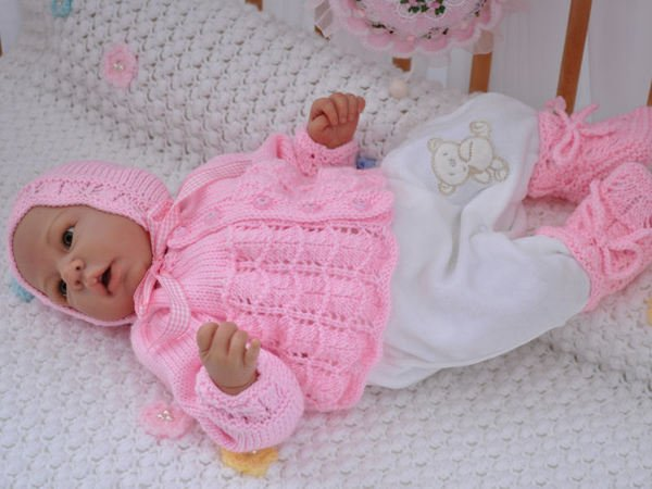 Babygarnitur Strickanleitung Gr 50 Rosa