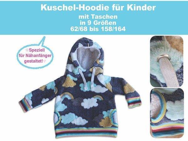Kuschel-Hoodie Kinder Kapuzenpullover Nähanleitung mit Schnittmuster ...
