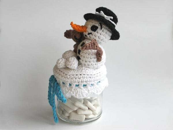 Pattern Glass-Cover Snowman ´s Friend Winter #0018 english